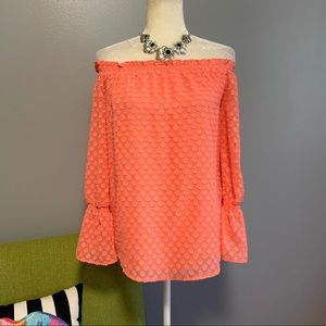 Michael Kors Peach Off Shoulder Dot Top D1